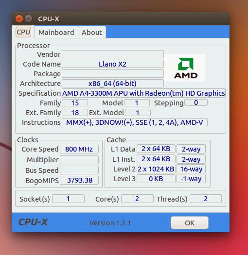 CPU-X - Veja informações do seu Hardware no Linux