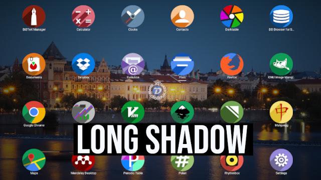 Estilo Long Shadow - Novo tema de ícones para Linux